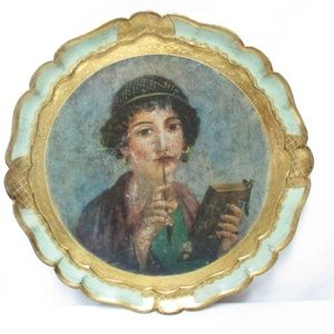 Vintage Art Deco Painted 1920's Flapper Girl Tray